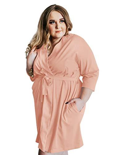 SIORO Robe for Women Soft Cotton Robes Knit Bathrobe Loungewear Womens Sleepwear Plus Size Ladies House Coat Peach