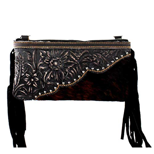 Genuine Leather Clutch Crossbody Shoulder Handbag Built in Wallet (Black - Tooled Hair & ()