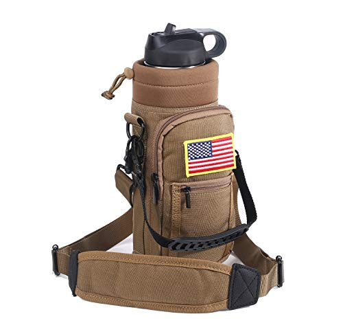 Bottle Holder Khaki - yisibo 40 oz Water Bottle Pouch Carrier Holder Coyote Brown Khaki with Handle & Shoulder Strap for Hydro Flask Bottles with Pockets Embroidered Badge Patches