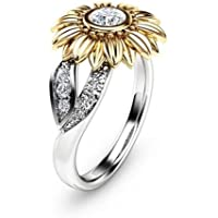 Promsup Exquisite Womens Two Tone 925 Silver Floral Ring Round 18K Gold Sunflower Gifts (7)