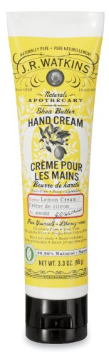 J.R. Watkins Natural Shea Butter Hand Cream, Lemon Cream, 3.3-Ounce Tubes (Pack of 4)