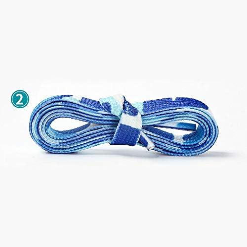 TMYQM 迷彩国旗印刷大人のスポーツ靴ひもメンズ・レディース・カジュアルキャンバスクラシックフラット靴ひも120 140 160 180 CM (Color : Blue, Size : 160cm)