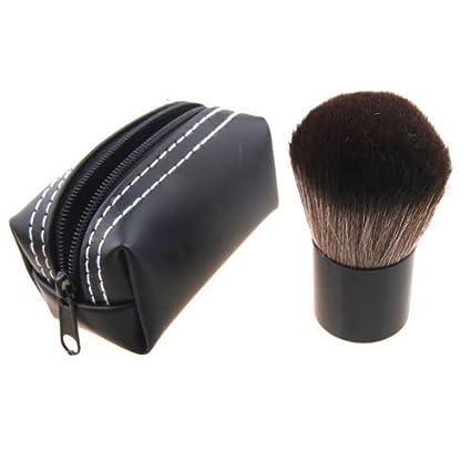 Maquillaje Brocha Kabuki con Mango De Aluminio Y Pelo De Nylon - Bolso De Polipiel Negro by DELIAWINTERFEL