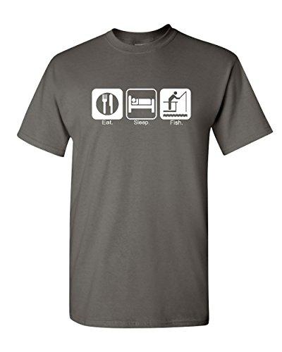 547b849c Eat Sleep Fish T-Shirt Funny Fishing Camping Tee Shirt Charcoal 4XL