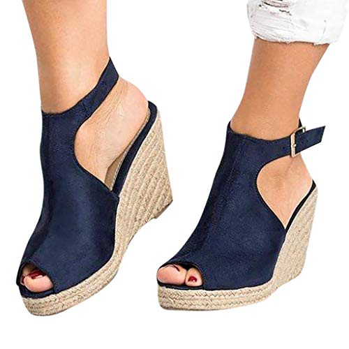 Cenglings Wedges Sandals,Women's Fish Mouth Espadrilles Slingback Platform Sandals High Heel Ankle Strap Beach Shoes Dark Blue