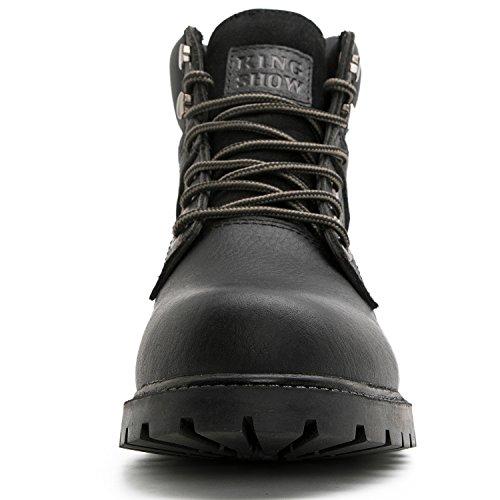 Kingshow Mens 1366 Stivali Da Lavoro Premium Resistenti Allacqua Black1366