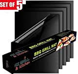 Four Heart Grill Mat Set of 5, 100% Non-stick BBQ Grill & Baking Mats - FDA-Approved, PFOA Free, Reusable and Easy to Clean - Works on Gas, Charcoal, Electric Grill and More - 15.75 x 13 Inch