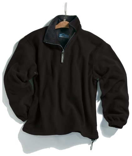 Tri-mountain Micro fleece 1/4 zip pullover. 7100TM - BLACK / BLACK_L