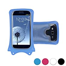 DiCAPac WP-C1 Universal Waterproof Case for Alcatel Pop C2/C3/C5/C7/D5/Icon/S3/S7/2 4.5 in Blue (Double Locking System; IPX8 Certified Underwater Protection; Super Clear Photo Lens)