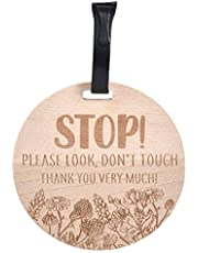 THREE LITTLE TOTS – Wooden Please Don't Touch BabyCar Seat Sign or Stroller Tag - CPSIA Safety Tested (Flower)