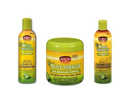 African Pride Olive Miracle Trio Set Of Hair Care Products (Shampoo, Leave-In, And Anti-Breakage)