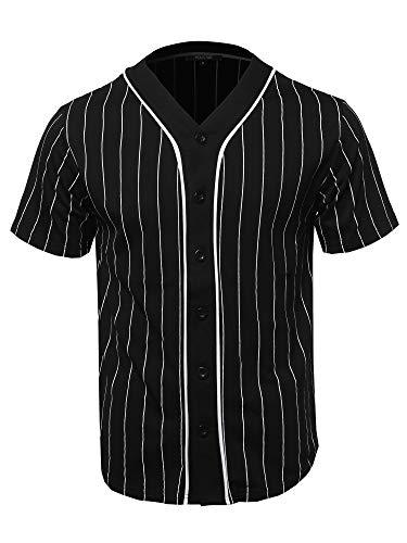 Solid Hipster Baseball Team Pin Stripe Jersey Top Black White M