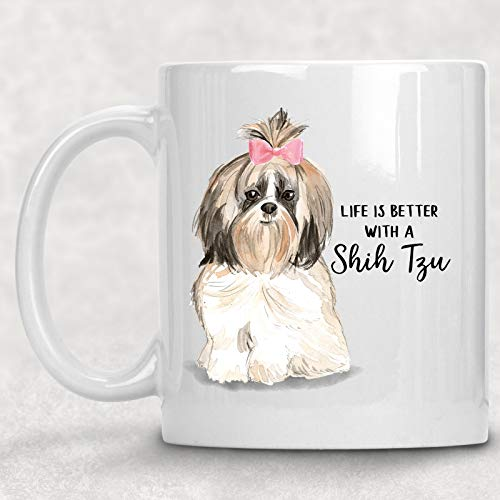 Watercolor Life is Better with a Shih Tzu Mug Dog Lover Coffee Cup Gift for Her