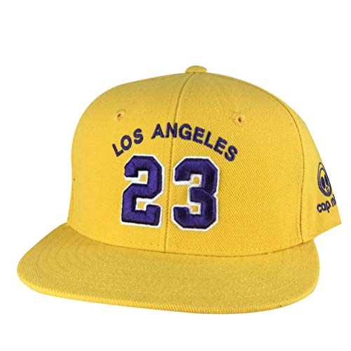 Los Angeles Player #23 Lakers Color Custom Embroidered Snapback Hat Cap (Yellow Gold, Purple) ()