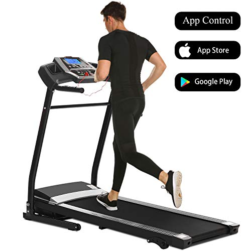 Aceshin New Folding Electric Support Motorized Power Running Fitness Jogging Treadmill with Smartphone APP Control, Bluetooth, Top Speed 12 KM/H, 12 Pre-Set Training Programs(US Stock)