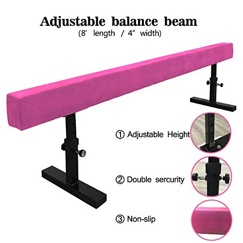 JC-ATHLETICS Adjustable Balance Beam Gymnastic Practice Training Equipment for Kids Children Home Floor Use,8 Feet Long (Pink)