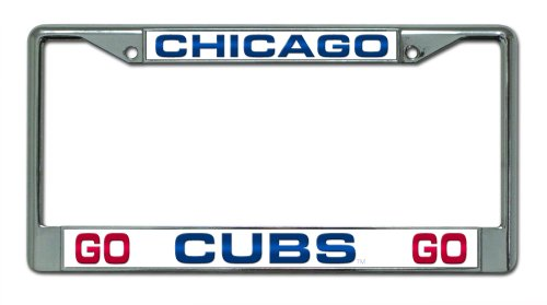 MLB Chicago Cubs Go Cubs Go Design Laser-Cut Chrome Auto License Plate Frame ()