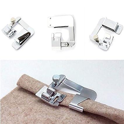 KathShop 3pcs/Set Rolled Hem Sewing Machine Foot 3 Size Presser Foot Set for Sewing