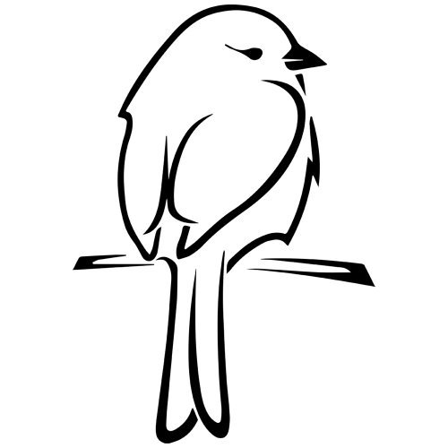 (Canary Bird on Perch Decal Sticker (Black, Mirrored), Decal Sticker Vinyl Car Home Truck Window Laptop)