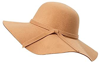 Young_Me Women's Foldable Wide Brim Wool Ribbon Band Floppy Hat (Beige)