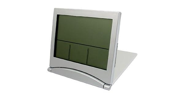 Amazon.com: eDealMax Rectángulo Tiempo de visualización del escritorio del LCD Digital del reloj del tono de Plata: Home & Kitchen