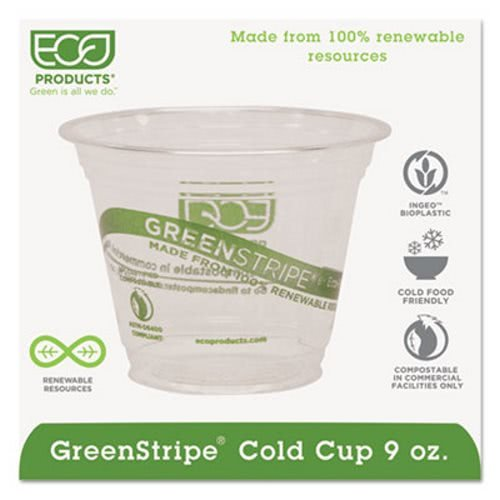 Compostable Corn Clear Plastic Cups, 9 Oz, Clear/Green Stripe, 50/Bags, 1000/CT
