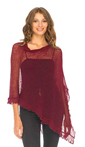 (SHU-SHI Womens Sheer Poncho Shrug Lightweight Knit with Ruffle One Size Fits Most Maroon)