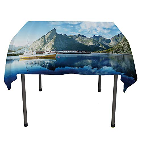 Farm House Decor, Wipeable Table CoverSunset in Norwegian Lake by Fjords Formation Yacht Fishing Arctic Harbor Island, Dinning Tabletop Decoration, 50x50 Inch Blue