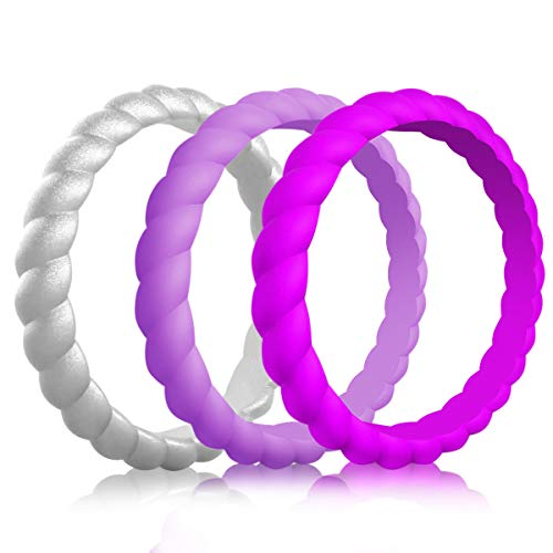 QVOW Silicone Rings for Women, Thin, Affordable and Stackable Rubber Wedding Bands for Athletes, Workout, Fitness, Gym, Exercise, Braided Design, 3 Packs, 3.0mm Wide, Size: 8 (18.1mm)