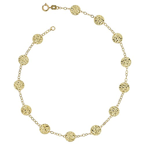 14k Yellow Gold Hammered Disc Station Anklet (10 inch) by Kooljewelry