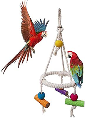 TEEPAO Columpio para Loro, Cuerda de algodón para pájaros, Jaula ...