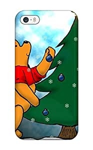AmandaMichaelFazio Scratch-free Phone Case For Iphone 5/5s- Retail Packaging - Pooh Christmas Green Tree Bear Brown Red White Black Xmas Santa Claus Holiday Christmas