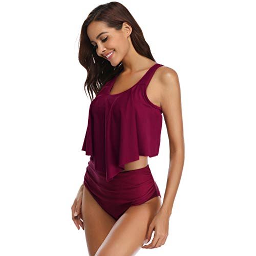 Sunhusing Women's Solid Color Sports Style Sleeveless Camisole+Plain Triangle Bikini Bottom Bathing Suit