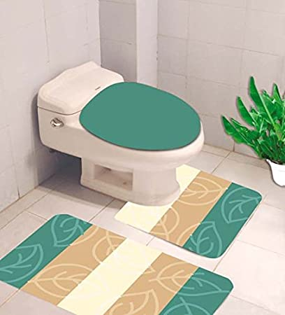 Amazing Gorgeoushomelinen 4 Mix Match Stripe Leave Printed 3Pc Bathroom Set Bath Mat Contour And Toilet Lid Cover With Rubber Backing Rugs Teal Customarchery Wood Chair Design Ideas Customarcherynet