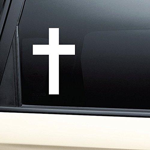 Christian Cross Vinyl Decal Sticker- Die Cut Decal Bumper Sticker For Windows, Cars, Trucks, Laptops, (Cross Sticker)