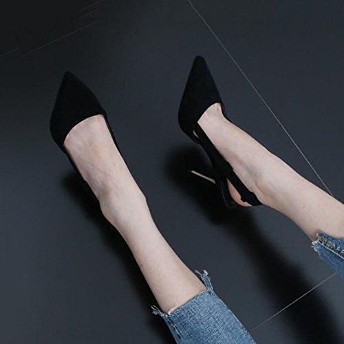 Alto Sandalias Tacones DALL 39 Zapatos Primavera UK6 Y 9 39 669 EU Cabeza Finos Negro Apuntado Tamaño Mujer 5cm CN Tacones de Ly De tacón Verano Zapatos r86rU