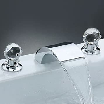 sprinkle deck mount two handle widespread waterfall bathroom sink faucet roman bath tub filler unique designer