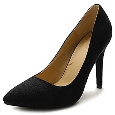 Ollio Womens 2ZM9004 Pumps-Shoes Black Size: 6