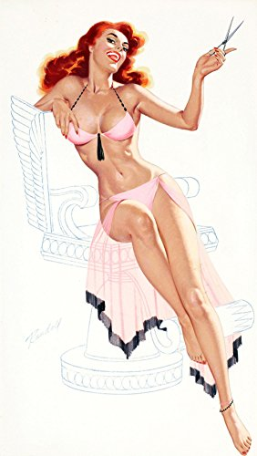 Pin-Up Girl Wall Decal Poster Sticker - Sheer Delight, c. 1950s - Red Hair Redhead Pinup Decal Stickers and Mural for your home and business. Vintage Wall Art for Room Decor and Decoration - Pin Up Poster (1950s Sheer)