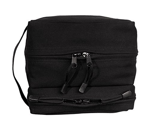 2001 Travel Gear - Rothco Canvas Dual Compartment Travel/Shave Kit, Black