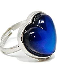 Adjustable Heart Mood Ring for Kids and Adults - One Size Fits All - Includes Color Mood Chart