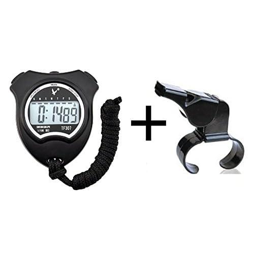 Cuzit Chronomètre Minuteur Tf307Sports Horloge Chronomètre numérique avec écran large et officielle Finger Grip Sifflet