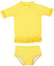 RuffleButts Infant / Toddler Girls Yellow Polka Dot Ruffled Rash Guard Bikini - Yellow - 3-6m