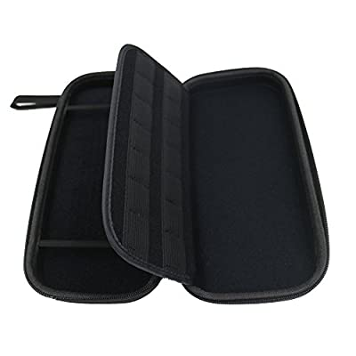 amCase Hard Carrying Case for Nintendo Switch with 14 Game Cartridge Holders with Zipper Protective Travel Case (Black)