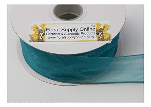 (#9 Monofilament Edge Sheer Organza Ribbon for Floral, Fashion, Craft, Scrapbooking, Gift Wrapping, Hair Bows, Wedding, Baby Shower, and Decorating Projects.(1-1/2 Inch x 25 Yard, Teal Green))