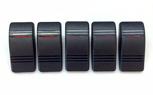Euro Rocker Marine Switch Cover Black with 1 Red Lens, 5 (Contura Rocker Switch)