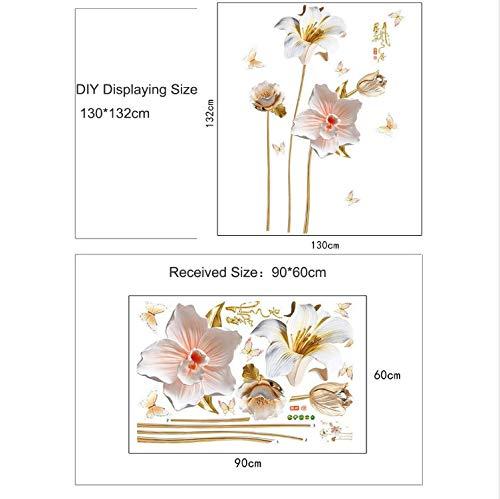 Creativo 3D Relieve Estilo Orquídeas Flores Pegatinas De Pared ...