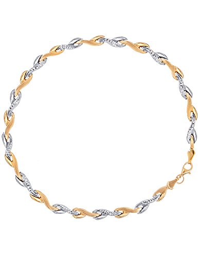 Stampato Leaf - 14k White and Yellow Gold Leaf Stampato Style Bracelet with Diamond-cut Links