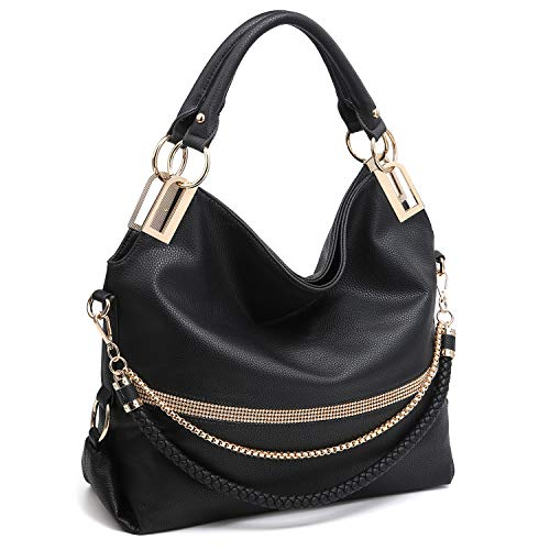 Dasein Women Classic Large Hobo Bag Rhinestone Chain Shoulder Bag Top Handle Purse (4-7350 Black)