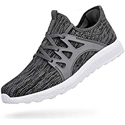 QANSI Men's Walking Shoes Fly Knittted Athletic Training Sports Running Sneakers Flexible Casual Shoes Gray/White - 11 US